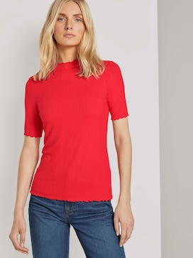 Ribbed T-shirt with a stand-up collar - 5 - TOM TAILOR