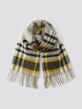 Checked reversible scarf with fringes - 7 - TOM TAILOR