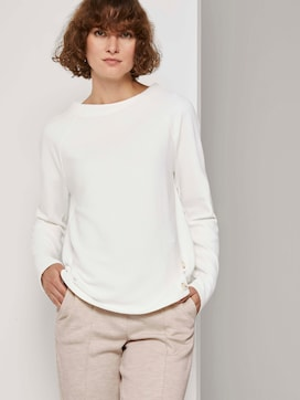 Sweatshirt with a striped structure and raglan sleeves - 5 - TOM TAILOR