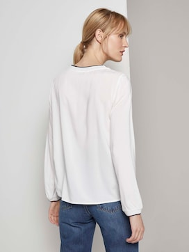 Basic blouse with rib trims - 2 - TOM TAILOR