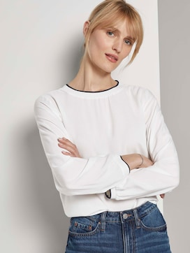 Basic blouse with rib trims - 5 - TOM TAILOR