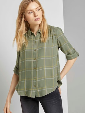 Checked shirt blouse with turn-ups - 5 - TOM TAILOR