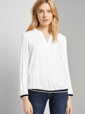 Henley-Bluse mit Tapedetail - 5 - TOM TAILOR