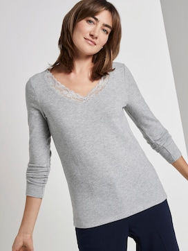 Long-sleeved top with a lace trim - 5 - TOM TAILOR