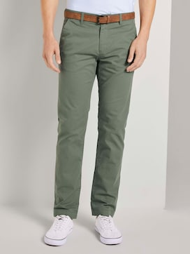 Straight textured chino trousers with a belt - 1 - TOM TAILOR Denim