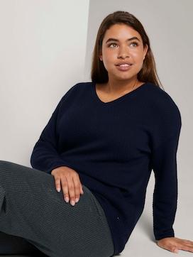 Strukturierter Pullover mit V-Ausschnitt - 5 - My True Me