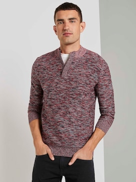 Mottled sweater with a Troyer collar - 5 - TOM TAILOR