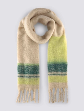 Soft oversized scarf with coloured stripes - 7 - Mine to five