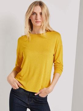 Shirt met lange mouwen in melange look - 5 - TOM TAILOR
