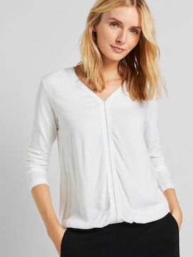 Langarmshirt im Materialmix - 5 - TOM TAILOR
