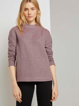 Mottled sweatshirt with a stand-up collar - 5 - TOM TAILOR