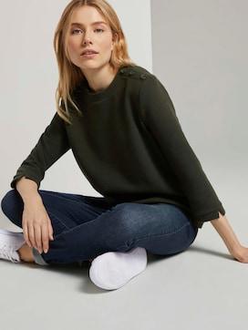 Stehkragen-Sweatshirt mit Knopfdetail - 5 - TOM TAILOR