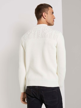 Sweater with a stand-up collar and textured pattern - 2 - TOM TAILOR