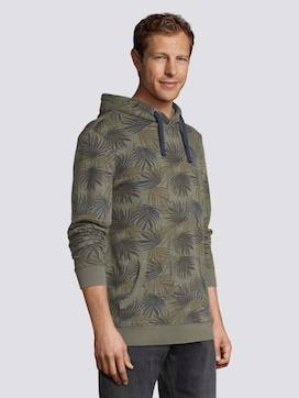 Hoodie with a palm leaf print - 5 - TOM TAILOR