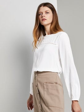 Flowing A-line blouse with embroidery - 5 - TOM TAILOR Denim