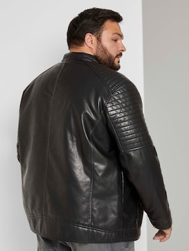 Faux leather biker jacket with a stand-up collar - 2 - Men Plus