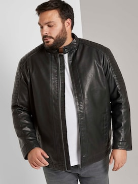Faux leather biker jacket with a stand-up collar - 5 - Men Plus
