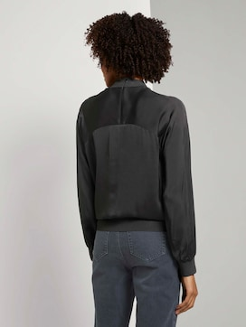 Satin blouse with ribbed cuffs - 2 - Mine to five