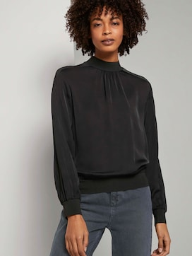 Satin blouse with ribbed cuffs - 5 - Mine to five