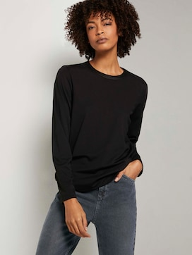 Long-sleeved shirt in a satin blend - 5 - Mine to five