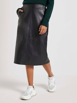 Faux leather midi skirt - 1 - Mine to five