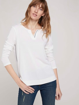 Long-sleeved shirt with a henley neckline - 5 - TOM TAILOR