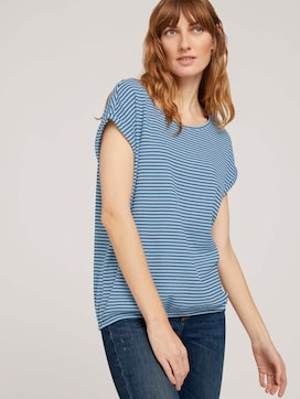 Textured striped t-shirt made with organic cotton  - 5 - TOM TAILOR