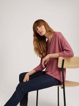 Meliertes Shirt mit elastischem Bund - 5 - TOM TAILOR