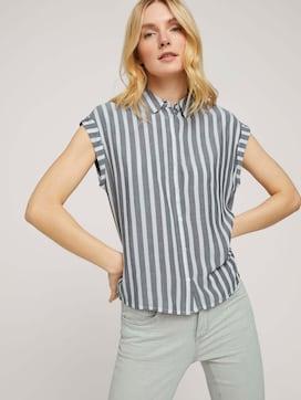 Striped short-sleeved shirt blouse - 5 - TOM TAILOR