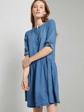 Buttoned denim dress with gatherings - 5 - TOM TAILOR Denim