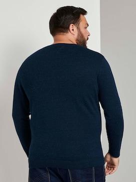 Knitted sweater in a melange look  - 2 - Men Plus