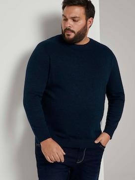 Knitted sweater in a melange look  - 5 - Men Plus