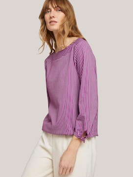 striped t-shirt with an elastic hem - 5 - TOM TAILOR