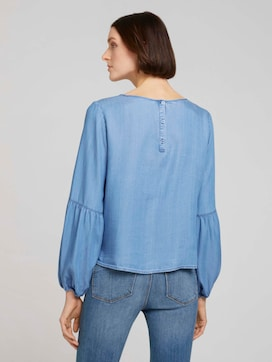 Denim blouse with balloon sleeves made with lyocell  - 2 - TOM TAILOR Denim