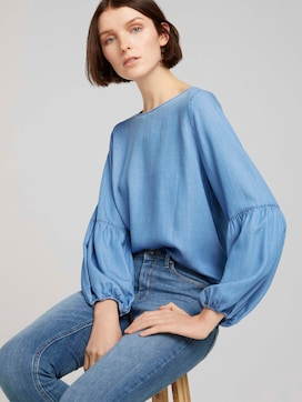 Denim blouse with balloon sleeves made with lyocell  - 5 - TOM TAILOR Denim