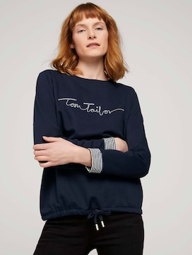 sweatshirt with a logo print and drawstring - 5 - TOM TAILOR