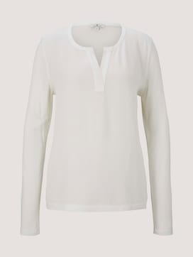 long-sleeved shirt with a henley neckline - 7 - TOM TAILOR