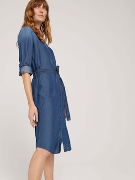 jeans blouse dress with a tie belt - 5 - TOM TAILOR