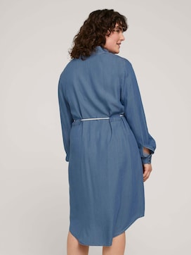 Denim blouse dress with a belt - 2 - My True Me