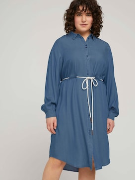 Denim blouse dress with a belt - 5 - My True Me