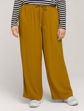 Wide fabric trousers with an elastic waistband - 1 - My True Me