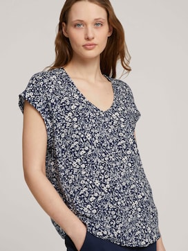 Patterned short-sleeved blouse with cut-out details - 5 - TOM TAILOR Denim
