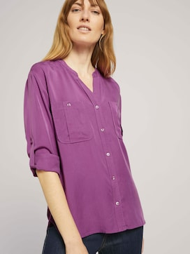 Lyocell blouse with chest pockets - 5 - TOM TAILOR