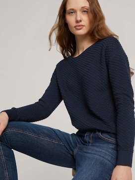 Pullover mit Waffelstruktur - 5 - TOM TAILOR Denim