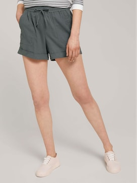 Relaxed-fit shorts with linen - 1 - TOM TAILOR Denim