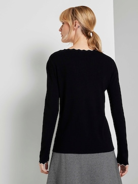 Knitted sweater with a seashell collar - 2 - TOM TAILOR