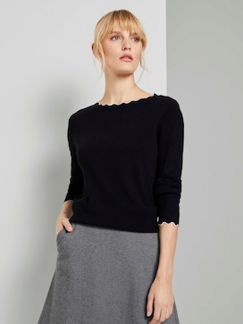 Knitted sweater with a seashell collar - 5 - TOM TAILOR