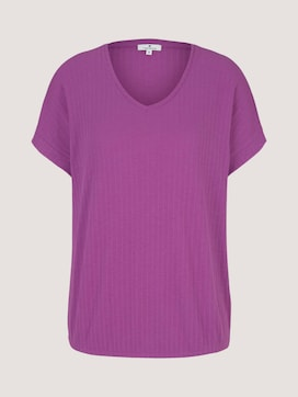 Textured t-shirt with a V-neckline - 7 - TOM TAILOR