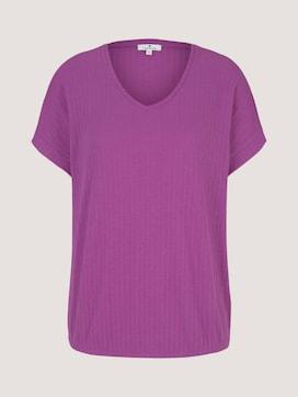 Textured t-shirt with a V-neckline - 7 - TOM TAILOR