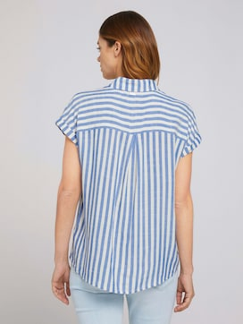 Short-sleeved shirt blouse with a striped structure - 2 - TOM TAILOR Denim